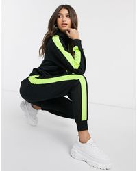 NA-KD Co-ord Neon Side-stripe Hoodie - Black