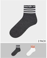 adidas Originals 2 Пары Носков В Полоску С Линейным Логотипом -многоцветный