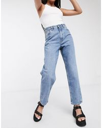 Monki Kiko Organic Cotton Twisted Seam Jeans - Blue