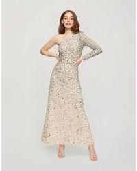 Miss Selfridge Vestito lungo monospalla con decorazioni oro - Neutro