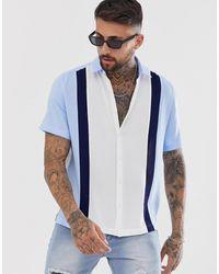 ASOS Regular-fit Overhemd Met Patchwork - Blauw