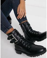 Bershka Черные Байкерские Ботинки С Пряжкой -черный Цвет