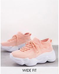Truffle Collection Wide Fit Knitted Trainer With Chunky Sole - Pink