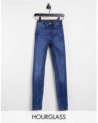 ASOS Hourglass - Jean skinny taille haute sculptant et rehaussant - Délavage marbré - Bleu
