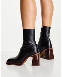 ASOS Rochelle Premium Leather Platform Heeled Boots - Black