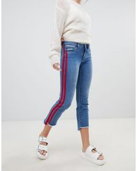 ONLY Straight Leg Crop Jean With Sports Stripe - Blue