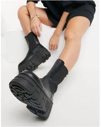 ASOS Черные Ботинки Челси На Массивной Подошве - Черный