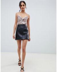 Miss Selfridge - Faux Leather Mini Skirt In Black - Lyst