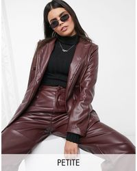 Missguided Co-ord Faux Leather Boyfriend Blazer - Brown