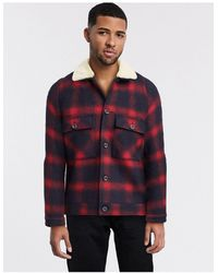 Jack & Jones Checked Trucker Wool Jacket With Borg - Red