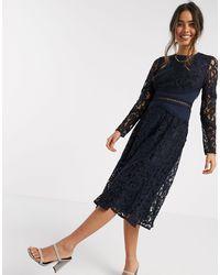 ASOS Long Sleeve Midi Prom Dress - Blue