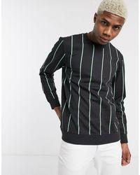 Only & Sons – Sweatshirt mit Rundhalsausschnitt und senkrechten Streifen - Schwarz