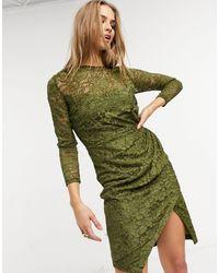 Little Mistress Lace Wrap Front Midi Dress - Green