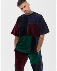 ASOS Two-piece Oversized Velour T-shirt With Mutlicolour Patchwork - Multicolour