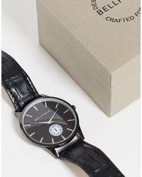 Bellfield Mens Black Watch And Dial - Metallic