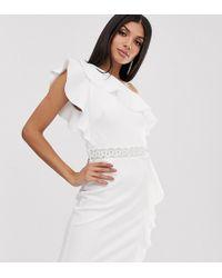 TFNC London One Shoulder Ruffle Mini Dress With Embellished Waistband - White