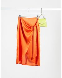 Lola May Falda midi cruzada - Naranja