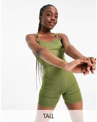 ASOS 4505 Короткий Облегающий Комбинезон Для Йоги Tall-черный Цвет - Зеленый