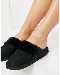 Miss Selfridge Fluffy Slippers - Black