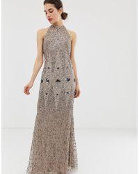 Angeleye Racerneck All Over Embellished Maxi Dress - Brown