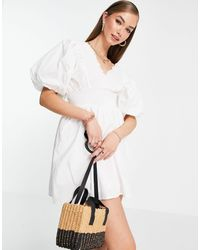 River Island Puff Sleeve Playsuit - White