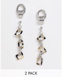 Pieces Jasmine - Set Van 2 Paar Oorbellen - Metallic