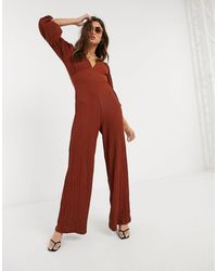 Bershka V Neck Textured Jumpsuit - Brown