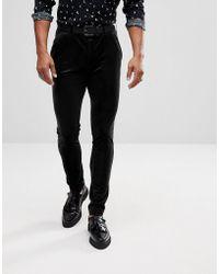 ASOS Super Skinny Pants In Black Velvet