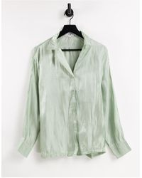 In The Style X Naomi Genes Satin Shirt Co Ord - Green