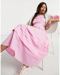 Warehouse Puff Sleeve Maxi Dress - Pink