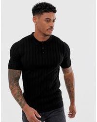 ASOS Knitted Ribbed Polo Shirt - Black