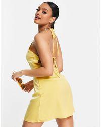 Naanaa Back Detail Satin Dress - Yellow