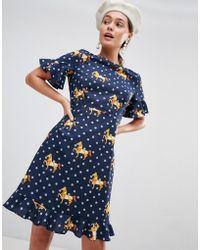Traffic People - Frill Hem Midi Dress In Polka & Horse Print - Lyst