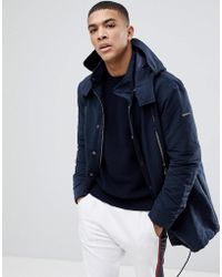 Armani Exchange - Hooded Parka Jacket In Navy - Lyst