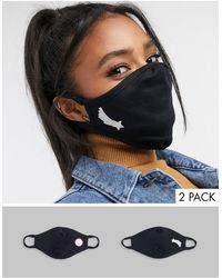 ASOS 2 Pack Face Coverings With Star And Yin Yang Placement Print - Blue