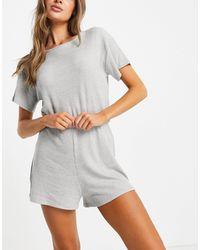 NA-KD Geribbelde Pyjama-playsuit - Grijs