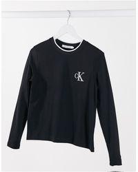 Calvin Klein Черный Лонгслив С Вышивкой