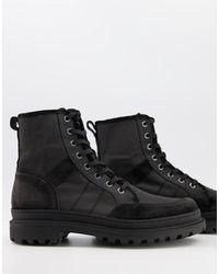 AllSaints Botas negras con cordones y suela - Negro