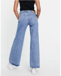 Weekday Ray Organic Cotton Low Rise Wide Leg Jeans - Blue