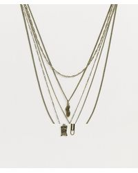 Reclaimed (vintage) Inspired Layered Neckchain With 90's Charm Interest - Metallic