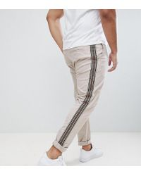 ASOS DESIGN - Plus Skinny Trousers With Aztec Side Taping In Beige - Lyst