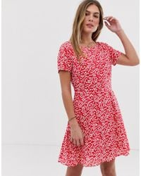 Jack Wills Merriden Fit And Flare Dress In Floral - Red