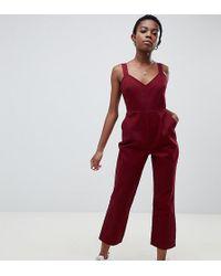 ASOS Asos Design Petite Denim Jumpsuit With Kickflare In Berry - Red