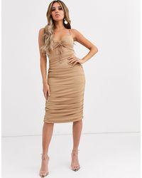 Significant Other Vestido midi ajustado con diseño fruncido horizon - Rosa