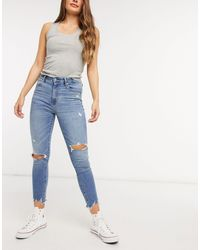 Abercrombie & Fitch High Rise Ripped Skinny - Blue