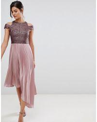 Coast - Delores Satin Pleated Asymmetric Dress - Lyst