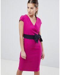 Vesper - Bow Detail Pencil Dress - Lyst