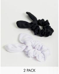 ASOS Set Met 2 Scrunchie Haarelastieken Met Strik - Meerkleurig