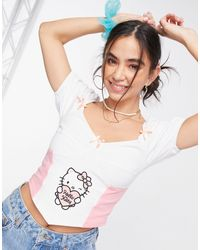 New Girl Order Кроп-топ В Корсетном Стиле С Квадратным Вырезом, Чашечками И Принтом X Hello Kitty-белый
