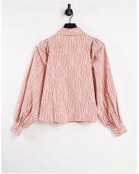 Y.A.S Розово-белая Рубашка С Пышными Рукавами И Принтом -многоцветный - Розовый